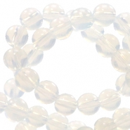 4 mm natural stone beads round White Opal
