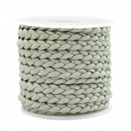 Trendy flat cord braided silk style 5mm Velvet Sage Green