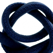 Trendy stitched cord silk style 6x4mm Dark Blue
