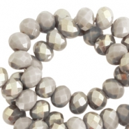 Top faceted beads 6x4mm disc Greige taupe-half champagne pearl shine coating