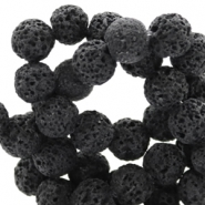 8 mm natural stone beads matt Lava Dark Anthracite Black