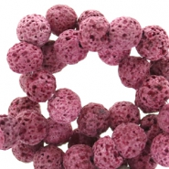 8 mm natural stone beads matt Lava Fuchsia Purple