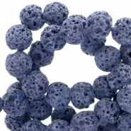 6 mm natural stone beads matt Lava Dark Blue