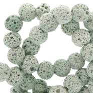 6 mm natural stone beads matt Lava Greenish Grey
