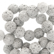 8 mm natural stone beads matt Lava Grey