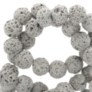 6 mm natural stone beads matt Lava Grey