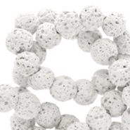 6 mm natural stone beads matt Lava Light Grey