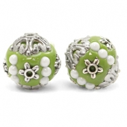 Bohemian beads 16mm Olive Green-Silver