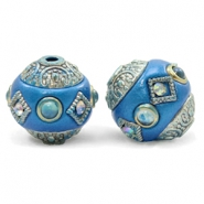 Bohemian beads 14mm Olympic Blue-Silver