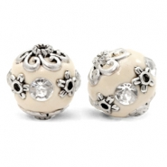 Bohemian beads 16mm Beige-Crystal Silver