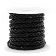 DQ round braided leather 8 strings 4mm Black