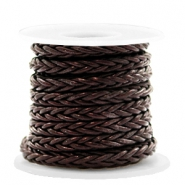 DQ round braided leather 8 strings 4mm Dark Chocolate Brown Metallic