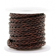 DQ round braided leather 8 strings 4mm Mauve Brown