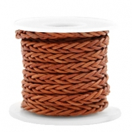 DQ round braided leather 8 strings 4mm Copper Brown