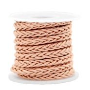 DQ round braided leather 8 strings 4mm Rosegold Peach Metallic