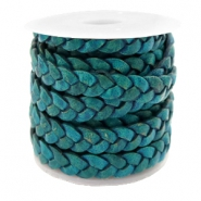 DQ leather flat 5 mm braided Teal Green