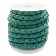 DQ round braided leather 4 strings 3mm Dark Azure Green