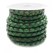 DQ round braided leather 4 strings 3mm Classic Green