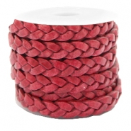 DQ leather flat 5 mm braided Rose Red
