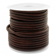 DQ leather round 3 mm Vintage Dark Peacan Brown