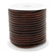 DQ leather round 2 mm Vintage Dark Peacan Brown