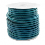 DQ leather round 3 mm Vintage Aqua Dazzle Blue