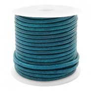DQ leather round 2 mm Vintage Aqua Dazzle Blue