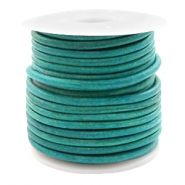 DQ leather round 3 mm Vintage Dark Turquoise Green