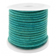 DQ leather round 2 mm Vintage Dark Turquoise Green
