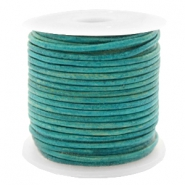 DQ leather round 1 mm Vintage Dark Turquoise Green