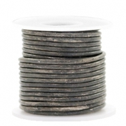 DQ leather round 2 mm Vintage Stormy Grey Metallic