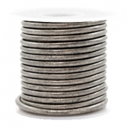 DQ leather round 3 mm Vintage Stormy Silver Grey Metallic
