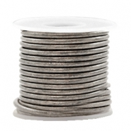 DQ leather round 2 mm Vintage Stormy Silver Grey Metallic