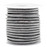 DQ leather round 3 mm Vintage Silver Grey metallic