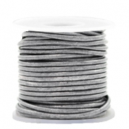 DQ leather round 2 mm Vintage Silver Grey metallic