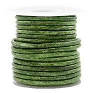 DQ leather round 3 mm Vintage Classic Green Metallic