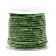 DQ leather round 2 mm Vintage Classic Green Metallic