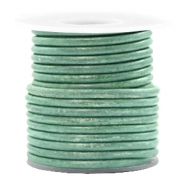 DQ leather round 3 mm Vintage Lark Green Metallic