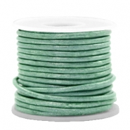 DQ leather round 2 mm Vintage Lark Green Metallic