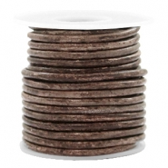 DQ leather round 3 mm Vintage Driftwood Brown Metallic