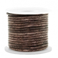 DQ leather round 2 mm Vintage Driftwood Brown Metallic