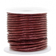 DQ leather round 2 mm Vintage Maroon Rust Red Metallic