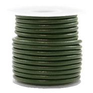 DQ leather round 3 mm Army Green Metallic