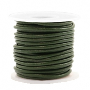 DQ leather round 2 mm Army Green Metallic
