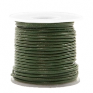 DQ leather round 1 mm Army Green Metallic