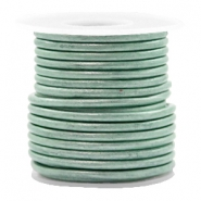 DQ leather round 3 mm Pastel Lark Green Metallic