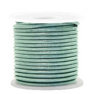 DQ leather round 2 mm Pastel Lark Green Metallic