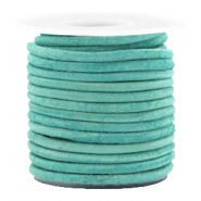 DQ leather round 3 mm Antique Turquoise Green