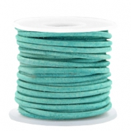DQ leather round 2 mm Antique Turquoise Green