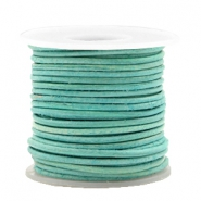 DQ leather round 1 mm Antique Turquoise Green